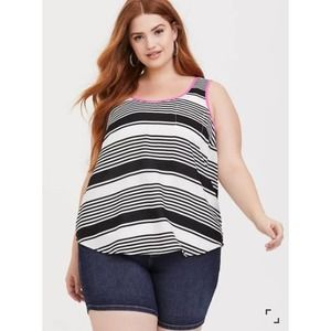 NEW Torrid High Low TUNIC TANK TOP Chiffon Stripe